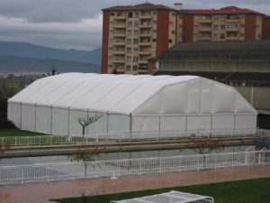 Fabric structures for construction sites
